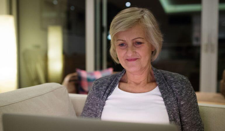 Woman enjoying the benefits of online therapy